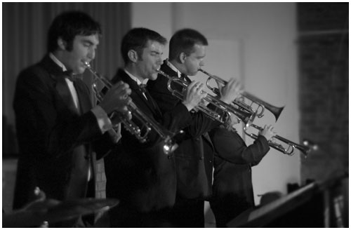 Big Band trumpet section performing at a wedding